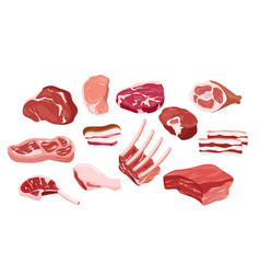 set fresh meat icons vector image