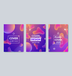 set modern abstract fluid covers set vector image