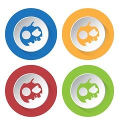Set of four icons - pumpkin three teeth and cap vector