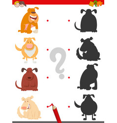 shadow game with cartoon dogs or puppies vector image
