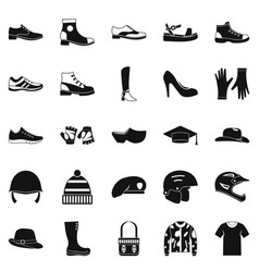 Shoes icons set simple style vector