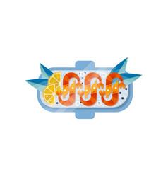 Shrimp slices of fresh lemon and blue leaves on vector