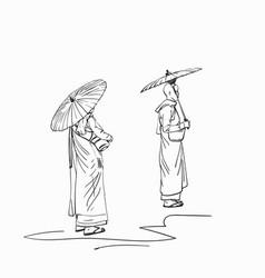 Sketch burmese buddhist nuns with sun vector