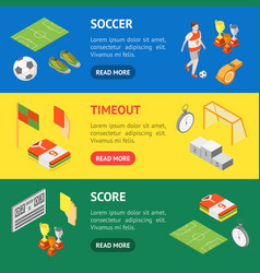 soccer sport game signs 3d banner horizontal set vector image