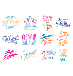 Summer quotes inspiration travel and journey vector