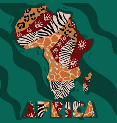 Textured map africa hand-drawn ethno pattern vector