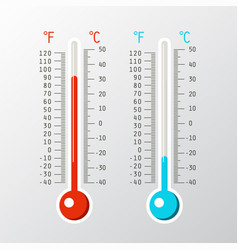 thermometer icons with cold and hot levels on vector image
