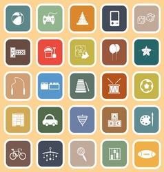 Toy flat icons on orange background vector