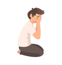Unhappy sad boy sitting on floor and closed face vector