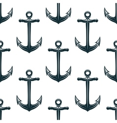 Vintage blue naval anchors seamless pattern vector
