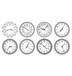 Vintage round clock face antique clocks vector