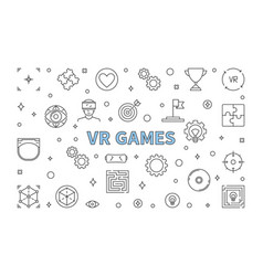 Vr games concept horizontal outline vector