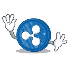 Waving ripple coin character cartoon vector