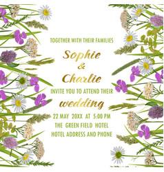 Wedding invitation with greenery vector