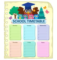 Weekly school timetable subject 7 vector