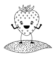 White background of monochrome strawberry fruit vector