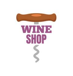 Wine shop corkscrew logo flat style vector