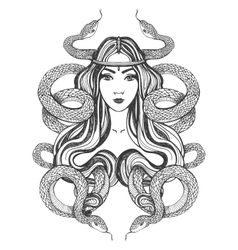 Woman with snakes Tattoo art coloring books vector