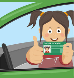 Young happy girl showing her new driver license vector
