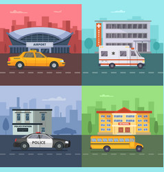 background with different municipal vector image