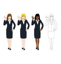 business woman showing ok hand sign vector image