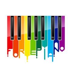 Rainbow fortepiano keyboard vector image