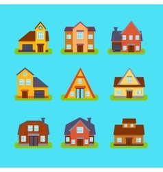 Suburban Real Estate Houses Collection vector image vector image