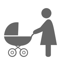 Woman with pram pictogram flat icon isolated on vector image vector image