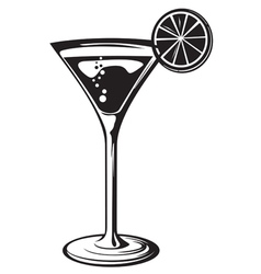 cocktail glass with lemon vector image vector image