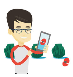 Man playing action game on smartphone vector