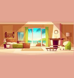 Panorama of villa interior bedroom of vector