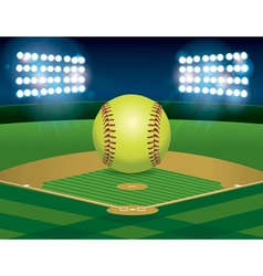 Softball on Stadium Field vector image vector image