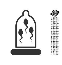 sperm protection icon with job bonus vector image