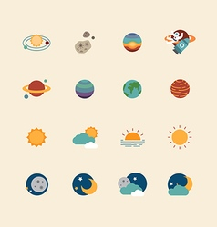 web icons set - space sun and moon vector image vector image