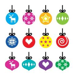 Christmas ball Christmas bauble colorful icons vector image vector image