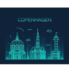 Copenhagen skyline trendy linear style vector image