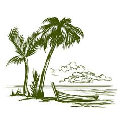 summer beach landscape hand drawn vector image vector image