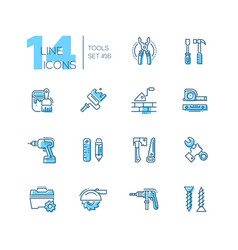 Tools - coloured modern single line icons set vector