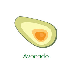 avocado pieces slice isolated on white background vector image