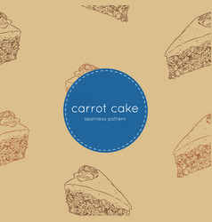 carrot cake hand draw sketch seamless pattern vector image vector image