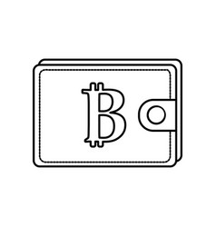 line bitcoin symbon in the wallet to save money vector image vector image