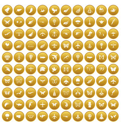100 fly icons set gold vector