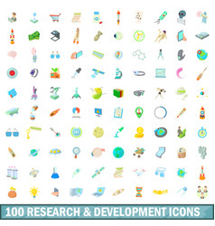 100 research and development icons set vector
