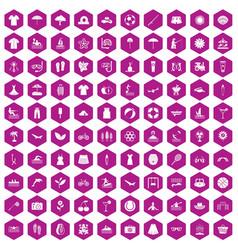 100 summer icons hexagon violet vector