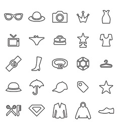 25 outline universal fashion icons vector image