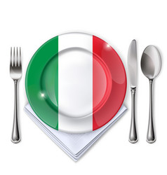 A plate with an italian flag vector