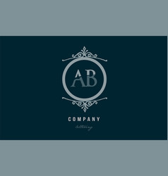 Ab a b blue decorative monogram alphabet letter vector