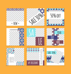 Abstract arabic advertising cards set vector