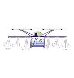 Agricultural irrigation drone flat cartoon crop vector