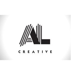 al logo letter with black lines design line letter vector image